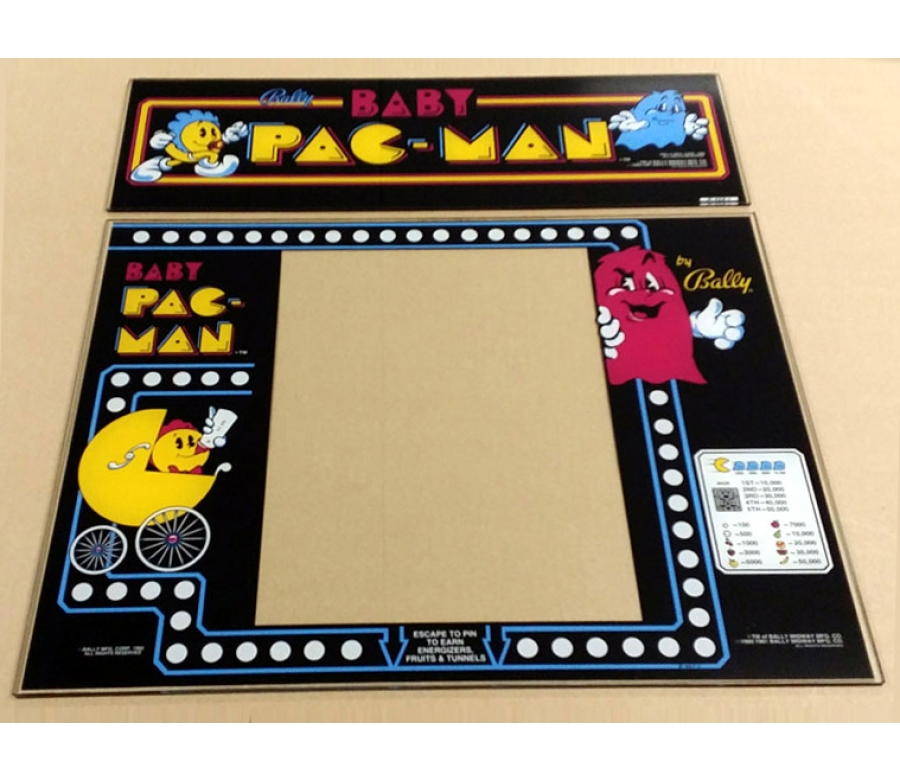 Baby Pac-Man Glass Marquee and Bezel Combo