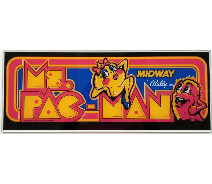 Ms. Pac-Man Glass Marquee